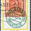 GERMANY - CIRCA 1978: A stamp printed in the Germany, dedicated to the Stamp Day and German Philatelists Meeting, Frankfurt am Main, shows first postage stamp of Saxony — Stock Photo #12756987