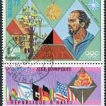Постер, плакат: HAITI CIRCA 1973: A stamp printed in Haiti shows Olympic Gold Medallist in 1972 in Munich Klaus Wolfermann circa 1973