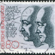 GERMANY - CIRCA 1982: A stamp printed in the Germany, dedicated to the 100th anniversary of the birth Nobel Prize winners James Franck and Max Born, circa 1982 - Stock Photo