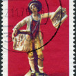 Stock Photo: GERMANY - CIRCA 1976: A stamp printed in the Germany, shows Boy selling copperplate prints and CEPT emblem. Ludwigsburg china figurines, (1765), circa 1976