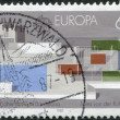 A stamp printed in the Germany, shows the German Pavilion — Stock Photo