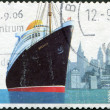 "A stamp printed in the Germany, dedicated to the 75th anniversary of the Transatlantic Speed Record-Breaking Voyage of the Steamship ""Bremen"" — Stock Photo"