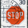 "A stamp printed in the Germany, dedicated to New traffic rules, traffic sign shows ""Stop"" — Stock Photo"