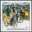 Stock Photo: Stamp printed in Germany, shows loading-mail at station in Prussia