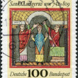 Stock Photo: Stamp printed in Germany, is devoted to 1250 anniversary of birth Saint Ludger
