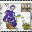 Постер, плакат: A stamp printed in Germany is dedicated to the 750th anniversary of the profession of pharmacy