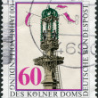 A stamp printed in Germany, is shown Setting Final Stone in South Tower, Cologne Cathedral — Stock Photo
