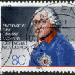 "A stamp printed in Germany, shows a picture of ""King Frederick the Great"" by Anton Graff — Stock Photo #12757425"