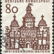 A stamp printed in Germany, is shown Ellinger Tor, Weissenburg in Bayern - Stock Photo