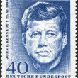 Stock Photo: A stamp printed in Germany, shows the U.S. president, John F. Kennedy