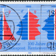 Постер, плакат: A stamp printed in Germany is dedicated to the 100th anniversary of Social Security Pension Insurance a graph of age