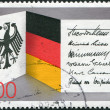 A stamp printed in Germany, dedicated to 40th anniversary of the Federal Republic of Germany, shows the national flag, coat of arms and signatures of presidents — Stock Photo