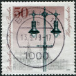 A stamp printed in Germany (West Berlin), shows a Historic Street Lanterns: Hanging gas lamps — Stock Photo
