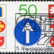 A stamp printed in Germany, shows the Emblems of Road Rescue Services — Stock Photo #12757513