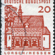A stamp printed in Germany, shows the Carolingian gatehall, Lorsch — Stock Photo