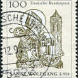 A stamp printed in Germany, shows St. Wolfgang (924-94), Bishop of Regensburg — Stock Photo