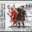 Stamp printed in Germany, shows Doctor Johannes Faust with Homunculus, Mephistopheles and Faust, Woodcut (1616) — Stock Photo #12757641