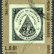 A stamp printed in the Honduras, is devoted to 100 anniversary of a postage stamp in Honduras — Stock Photo
