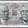 A stamp printed in Germany, dedicated to 25th anniversary of the Franco-German Cooperation Treaty, shows the Konrad Adenauer and Charles de Gaulle — Stock Photo
