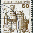 A stamp printed in Germany, shows the fortress Marksburg — Stock Photo