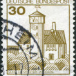 Stock Photo: Stamp printed in Germany, shows Burg Ludwigstein, river valley Werra