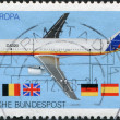 Royalty-Free Stock Photo: A stamp printed in the Germany, dedicated to the Transport and communication, shows the Airbus A320
