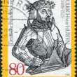 A stamp printed in the Germany, shows Ulrich Reichsritter von Hutten, detail from an engraving published with Hutten's Conquestiones - Stock Photo
