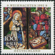 A stamp printed in Germany, shows Stained glass windows, Augsburg Cathedral, Annunciation — Stock Photo