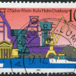 A stamp printed in Germany, is dedicated to the 275th anniversary of the Rhine-Ruhr Harbor, Duisburg - Stock Photo