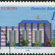 A stamp printed in Germany, shows the Post offices in Frankfurt am Main: Modern Giro office — Stock Photo