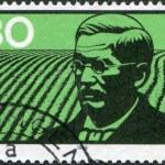 Постер, плакат: A stamp printed in Germany shows Friedrich Wilhelm Raiffeisen