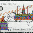 Stock Photo: A stamp printed in Germany, is dedicated to the 100th anniversary of the 3-Phase Energy Transmission between the Neckar power plant and Frankfurt am Main