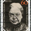 A stamp printed in Germany, is dedicated to the 150th anniversary of the birth Baroness Marie von Ebner-Eschenbach - Stock Photo