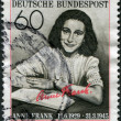 "A stamp printed in Germany, is dedicated to the 50th anniversary of the birth Annelies Marie ""Anne"" Frank - Stock Photo"
