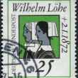Постер, плакат: A stamp printed in Germany is dedicated to Wilhelm Lohe founder of the Deaconesses Training Institute at Neuendettelsau shown Deaconesse