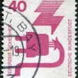 A stamp printed in Germany, is dedicated to Accident prevention, shows a Defective plug — Stock Photo