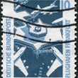 A stamp printed in Germany, shows the airport of Frankfurt am Main — Stock Photo