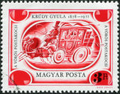 """HUNGARY - CIRCA 1978: A stamp printed in Hungary, is dedicated to the 100th anniversary of Gyula Krudy, depicts """"The Red Coach"""", circa 1978 — Stock Photo"""