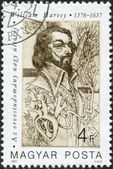 HUNGARY - CIRCA 1987: A stamp printed in Hungary, shows William Harvey (1578-1657), English physician, anatomist, circa 1987 — Stock Photo