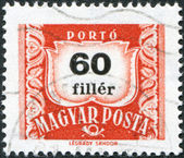 HUNGARY - CIRCA 1958: A stamp printed in Hungary, is depicted porto-mark, a shield, face value 60 filler, circa 1958 — Stock Photo