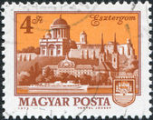 HUNGARY - CIRCA 1973: A stamp printed in Hungary, is depicted Esztergom Cathedral, coat of arms, circa 1973 — Stock Photo