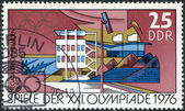 DDR - CIRCA 1976: A stamp printed in DDR, devoted to the Summer Olympics in Montreal, depicts Regatta course, Brandenburg, circa 1976 — Stock fotografie