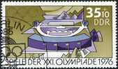 DDR - CIRCA 1976: A stamp printed in DDR, devoted to the Summer Olympics in Montreal, depicts Rifle range, Suhl, circa 1976 — Stock Photo