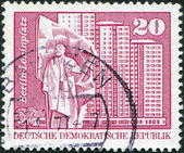 DDR - CIRCA 1973: A stamp printed in DDR, shows Lenin Square, residential high-rise buildings (Berlin), circa 1973 — Stock Photo