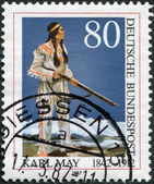 GERMANY - CIRCA 1990: A stamp printed in the Germany, dedicated to the 75th anniversary of the death of Karl May, shows the Apache Chief Winnetou, circa 1990 — Stock Photo