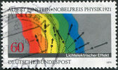 GERMANY - CIRCA 1979: A stamp printed in the Germany, dedicated to the Diagram of Einstein Photoelectric Effect, circa 1979 — Stock Photo