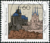 GERMANY - CIRCA 1992: A stamp printed in the Germany, dedicated to the anniversary of the 1250 Erfurt, Capital of Thuringia, shows the cathedral, Severikirche and th — Stock Photo