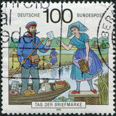 GERMANY - CIRCA 1992: A stamp printed in the Germany, depicts Postman, Spreewald Region, circa 1992 — Stock Photo