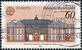 GERMANY - CIRCA 1990: A stamp printed in the Germany, is depicted Post offices in Frankfurt am Main: Thurn and Taxis Palace, circa 1990 — Stock Photo
