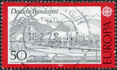 GERMANY - CIRCA 1977: A stamp printed in the Germany, shows the Rhine, Siebengebirge and train, circa 1977 — Stock Photo
